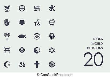 Eine Reihe von Weltreligionen Ikonen.