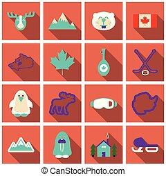 Eine Reihe von Winter Icons verschiedene Objekte Sportgeräte und Tiere.