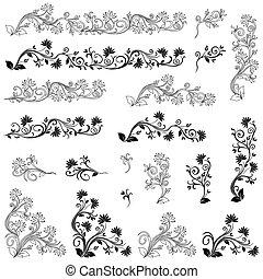 Eine Reihe von Wirbelflora-Designelementen.