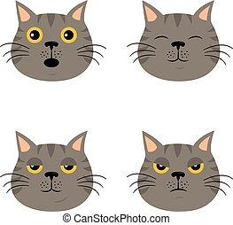 Eine Reihe von Zeichentrick-Katzen-Emoticons im einfachen, flachen Stil.
