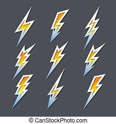 Eine Reihe von zigzag Blitzen oder Strom Icons.