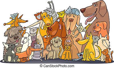 Eine riesige Gruppe von Katzen und Hunden
