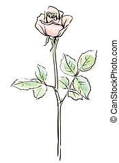 Eine rosarote Blume, isoliert auf dem weißen Hintergrund, Vektorgrafik.