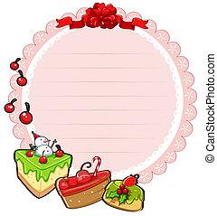 Eine runde Weihnachtskarte mit Kuchen