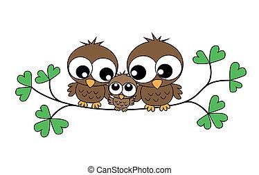 Eine süße kleine Eulenfamilie.