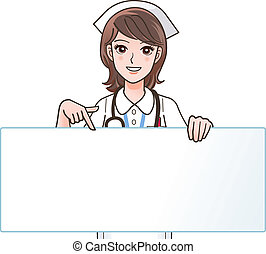 Eine süße Krankenschwester, die auf eine zeigt