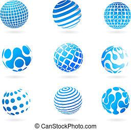 Eine Sammlung blau-drei- Globus-Ikonen