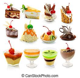Eine Sammlung von köstlichem Dessert, isoliert auf weißem