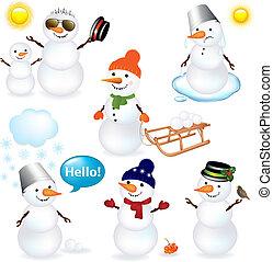 Eine Sammlung von Schneemännern