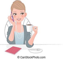 Eine schöne Frau am Telefon