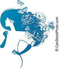 Eine schöne Frau mit Blumen und Schmetterlingen im Haar