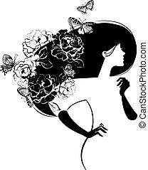 Eine schöne Frau mit Blumen und Schmetterlingen im Heer