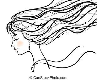 Eine schöne Frau steht vor Silhouette