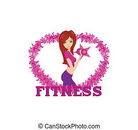 Eine scharfe Frau, die mit zwei Hantelgewichten an ihren Händen trainiert