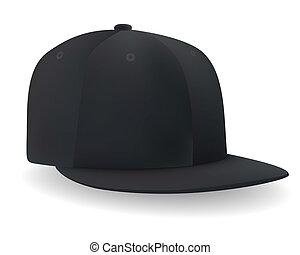 Eine schwarze Baseballmütze