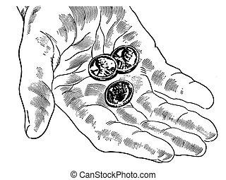 Eine schwarze und weiße Version einer Hand mit nur ein paar Pennys