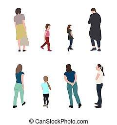Eine Silhouette, die Menschen und Kinder führt. Vector Illustration.