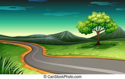 Eine Straße zum Berg.