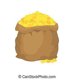 Eine Tüte Gold. Viele Goldmünzen. Freier Sack voller Schätze. Goldener Reichtum.