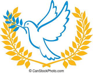 Eine Taube des Friedenssymbols