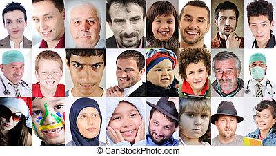 Eine Vielzahl unterschiedlicher Kulturen und Altern, gewöhnliche Menschen mit unterschiedlichen Ausdrucksformen