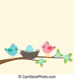 Eine Vogelfamilie.