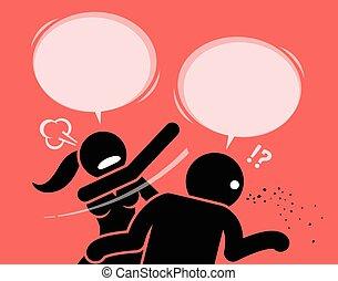 Eine wütende Frau, die einen Mann schlägt, weil sie unhöflich und beleidigend ist.