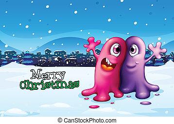 Eine Weihnachtskarte mit zwei Monstern