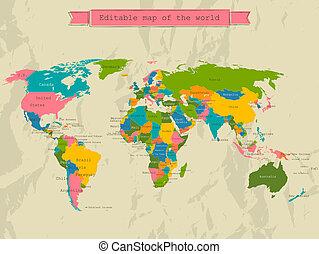 Eine Weltkarte mit allen Ländern.