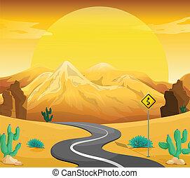 Eine windende Straße in der Wüste