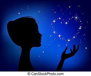 Eine wunderschöne Frau mit Sternenherz