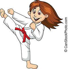 Eine Zeichentrickfigur, die Kampfkunst macht.