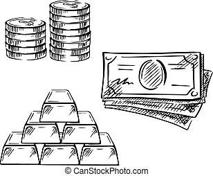 Eine Zeichnung von Dollarscheinen, Münzen und Goldbarren
