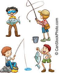 Eine Zeichnung von Männern, die angeln.