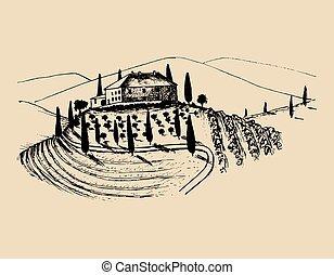 Eine Zeichnung von Villa, Bauernhaus in Feldern. Vector Landlandschaft Illustration. Handgezeichnetes mediterranes Haus.
