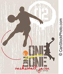 Einer auf einem Basketball