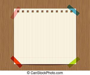 einfügen, hölzern, text, wand, wechselbuchpapier, liniert, dein