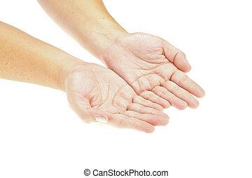 einfügen, hand, product., bild, freigestellt, object., halten hände, rgeöffnete, dein
