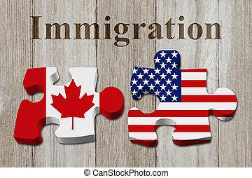 Einfühlsam von der Kanada nach den USA.