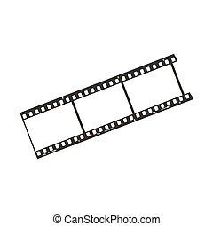 einfache , 35mm, positiv, ikone, schnipsel, drei, schwarz, dia, film, weißes, rahmen
