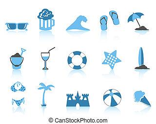 Einfache Beach-Icon-Blue-Serie