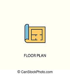 einfache , grobdarstellung, boden, 2, symbol, plan, gefärbt, linie, gelber , element, illustration., blaues, begriff, icon.