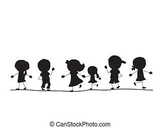 Einfache, laufende Silhouetten Kinder in einer Reihe.