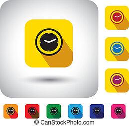 einfache , stunde, design, signs., jetzt, uhr, -, langer, auch, wohnung, sekunden, symbol, uhr, ikone, schatten, vertritt, grafik, dieser, taste, &, geschenk, usw, vektor, zeit, minuten, oder