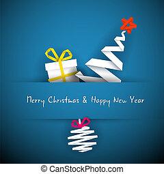 Einfache Vektor-Blue-Weihnachtskarte mit Geschenk, Baum und Schmuck