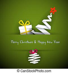 Einfache Vektor-Red-Weihnachtskarte mit Geschenk, Baum und Schmuck