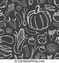 Einfaches handgezeichnetes Doodle-Gemüse auf schwarzem Brett nahtlos Muster.