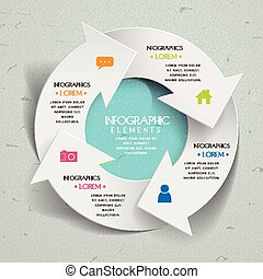 einfachheit, schablone, infographic, design