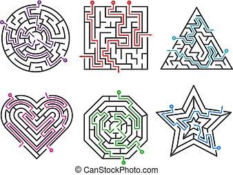 eingang, satz, labyrinth, formen, spiel, sammlungen, verschieden, viele, vektor, maze., tor