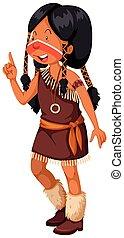 Eingeborenes amerikanisches Mädchen in einem braunen Kostüm.